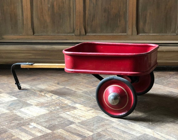 Vintage Red Wagon Trailer, Radio Flyer Type Wagon Trailer, Pull Behind Red Wagon, Christmas Decor