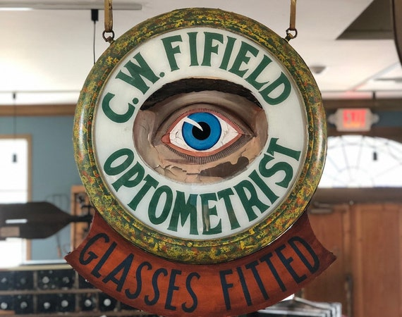 Antique Optometrist Trade Sign, Reverse Painted Glass Eyeball Optometry Sign, C.W. Fifield Optometrist Glasses Fitted