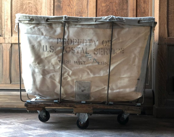 US Post Office Mail Cart, Canvas Hamper, Canvas Factory Cart, Industrial Laundry Cart, Post Office Mail Cart
