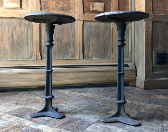 PAIR of Cast Iron and Wood Stools, Antique Plant Stands, Side Table Stools, Industrial Decor, Farmhouse Plant Stand