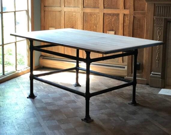 LARGE Industrial Worktable, Vintage Industrial Dinning Table, Antique Industrial Island, Industrial Workbench Table