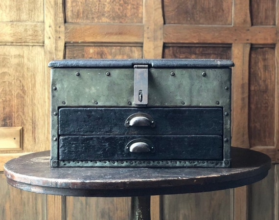 Vintage Tin-Clad Keep Out Box, Antique Strong Box, Vintage Tool Chest, Handmade Industrial Storage Box