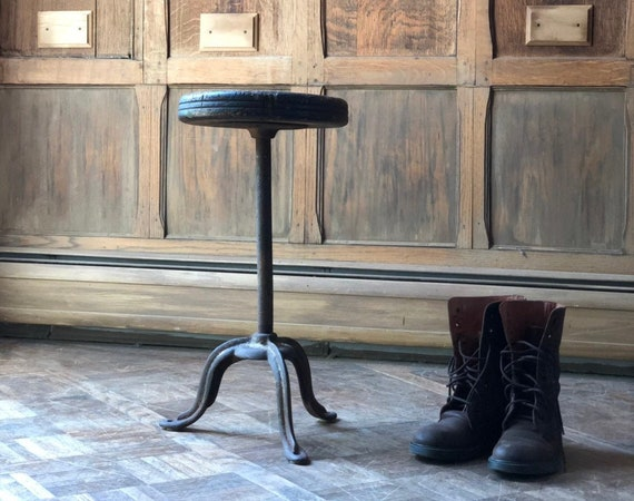 Antique Stool, Cast Iron and Wood Operators Stool, Side Table Stool, Vintage Industrial Decor, Farmhouse Plant Stand