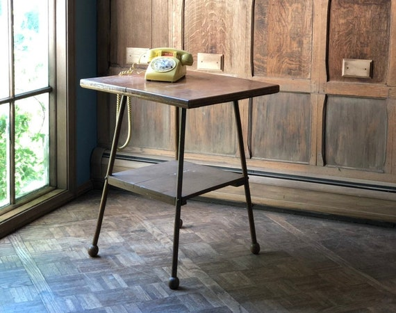Antique Side Table, Primitive Handmade Table, Mid Century Bistro Table, Vintage Side Table