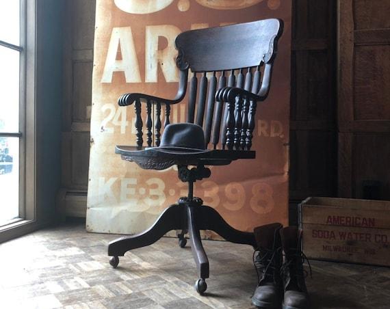 Antique Oak Desk Chair, High Back Swivel Chair, Vintage Office Chair, Antique Swivel Office Chair