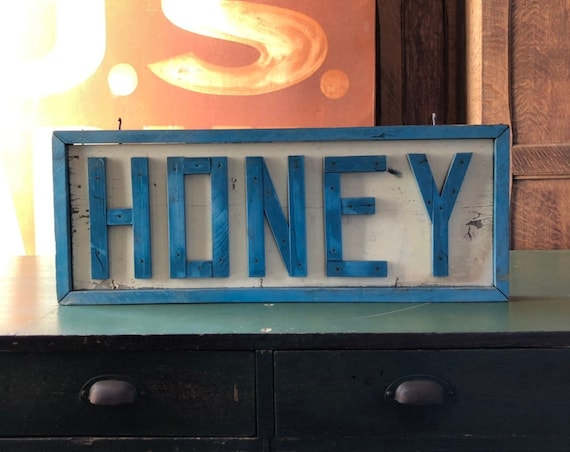 Vintage Honey Sign, Handmade Orchard Honey Sign, Hand Painted Wood Farm Sign, Kitchen Sign, Primitive Decor