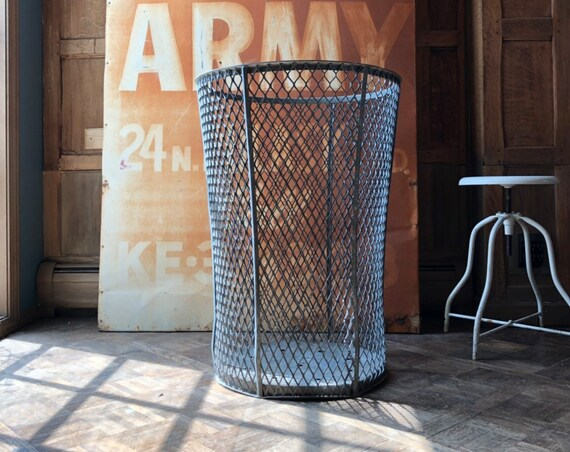 LARGE Vintage Trash Can, Milwaukee County Stadium, Baseball Park Trash Can, Expanded Metal Garbage Can, Large Metal Waste Basket