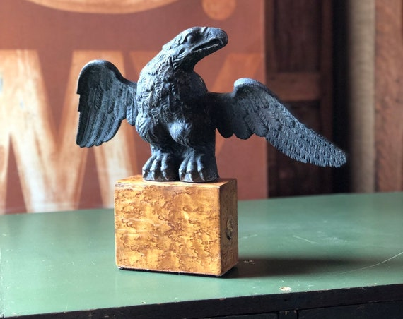 Vintage Cast Iron Eagle Statue, Large Eagle Flag Pole Finial, American Eagle Statue, Americana Decor, Industrial Office