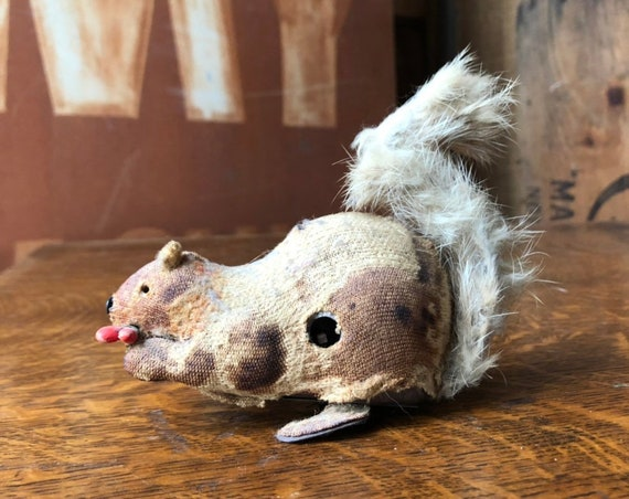 Antique Squirrel Wind Up Toy, Mohair Squirrel Toy, Mechanical Squirrel, Squirrel Gifts, Squirrel Decor
