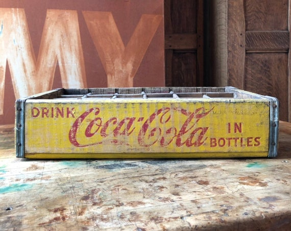 Vintage Coca-Cola Crate, Wood Coke Crate, Red And Yellow Coca Cola Crate With Dividers, Coca Cola Collectibles