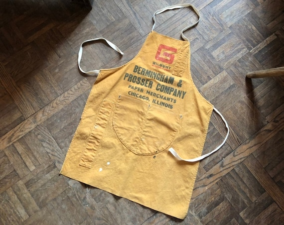 Hardware Store Advertising Apron, Bermingham & Prosser Company Paper Merchants, Chicago, Illinois, Canvas Shop Apron