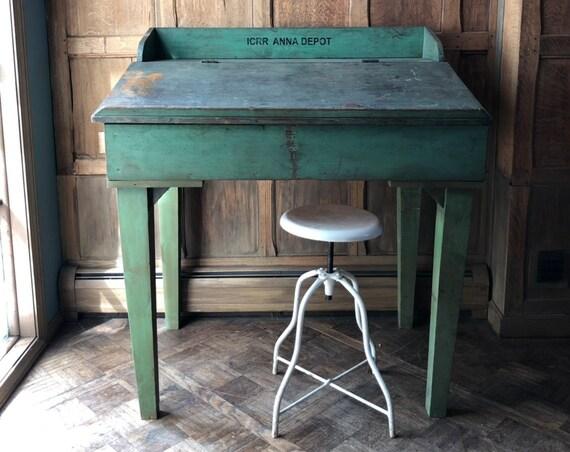 Antique Railroad Station Desk, ICRR Anna Depot Desk, Vintage Standing Desk, Standing Work Station, Tall Desk, Railroad Decor