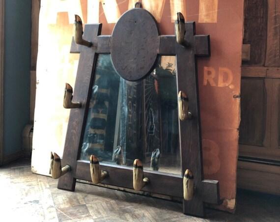 Antique Deer Hoof Mirror, Oak Mirror Taxidermy Coat Rack, Hoof Gun Rack, Entryway Mirror, Hunting Decor