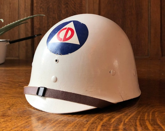 Vintage Civil Defense Helmet, Cold War Civil Defense Helmet, 1950s Memorabilia, Militaria