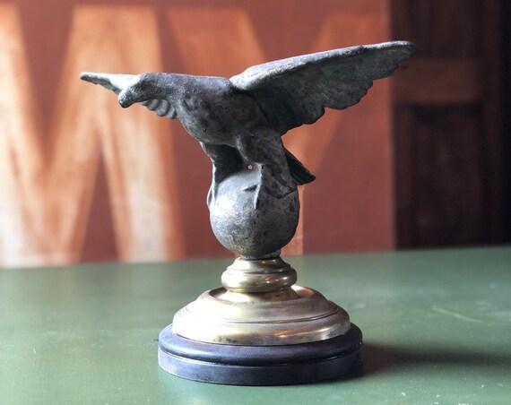 Vintage Eagle Statue, Cast Iron Eagle Statue, Vintage Eagle Flag Pole Finial, American Eagle Statue, Americana Decor, Industrial Office