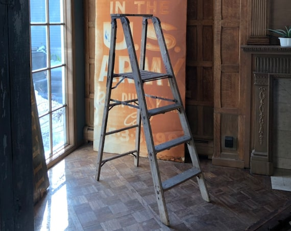 Vintage Step Ladder, Wood Folding Ladder, Painted Wood Ladder, Painters Ladder, Farmhouse Blanket Ladder