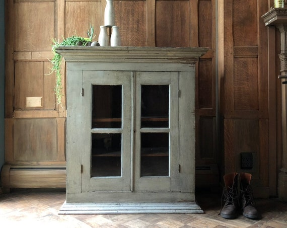 Primitive Farmhouse Cabinet, Chippy Antique Cupboard, Primitive Wood Hutch, Rustic Storage Cabinet