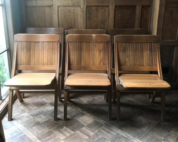 Set of 6 Vintage Folding Chairs, Vintage Folding Theater Seats, Oak Chairs, Mid Century Folding Chair, Folding Chairs For Decoration