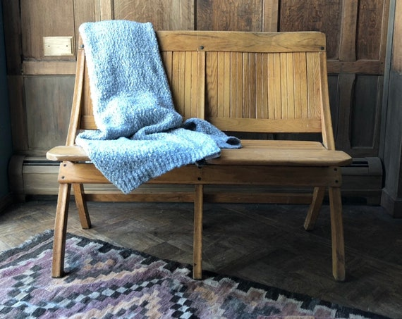 Vintage Folding Theater Seats, Wood Church Pew Bench, Entryway Seating, Antique Bench, Mudroom Bench
