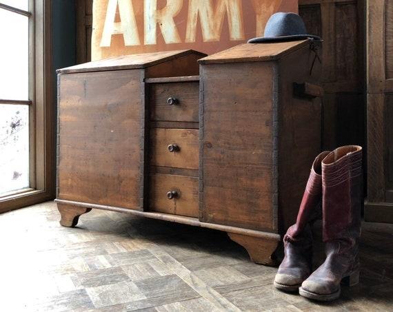 Primitive Grain Bin, Antique Pine Storage Bin, Primitive Kitchen Storage, Antique Flour Bin, Entryway Storage
