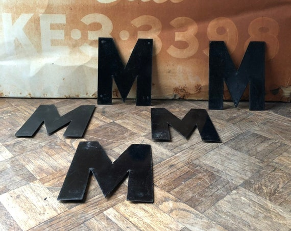 "Vintage Letter, 10"" Porcelain Marquee Letters, Letter M, Vintage Initial, Sign Letter, Initial Decor, Letter Wall Decor"