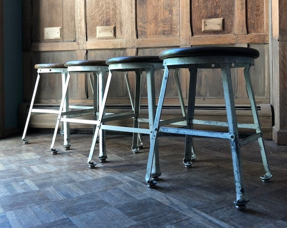 Vintage Industrial Stools, Set of Four, Metal Drafting Stool Wood Top, Industrial Seating, White Shop Stool, Factory Stool