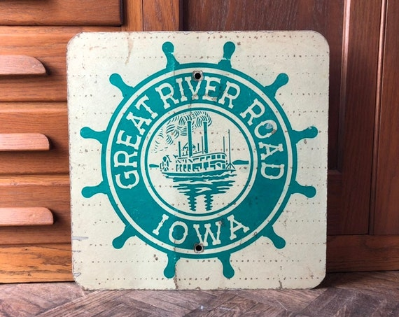Vintage Road Sign, Great River Road Iowa, Traffic Signs, Vintage Iowa Decor, Industrial Wall Decor, Nautical Decor