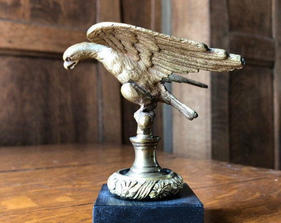 Small Antique American Eagle, Brass Eagle Flag Pole Topper, American Eagle Finial Statue, Americana Decor, Industrial Office