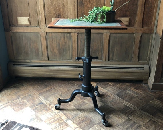 Antique Drafting Table, Adjustable Artist Table, Industrial Desk, Cast Iron Table, Drawing Table, Vintage Side Table