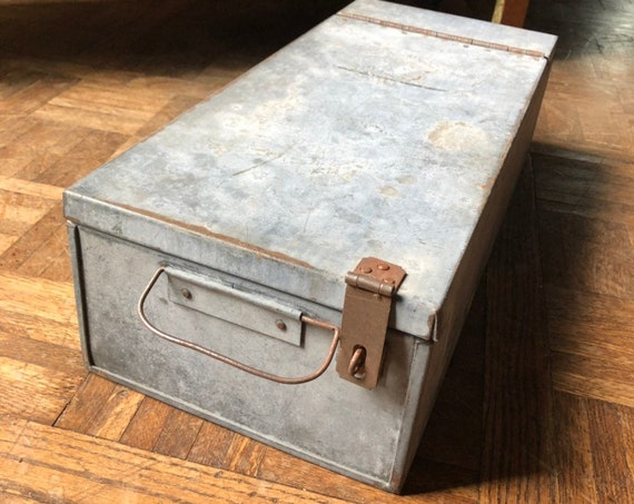 LARGE Galvanized Safety Deposit Box, Antique Galvanized Lock Box, Galvanized Farmhouse Decor, Industrial Office Decor