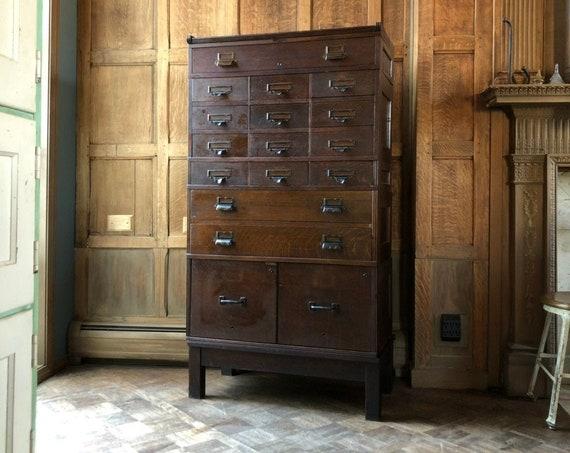 Antique Stacking Card Catalog, Oak Card File, Large Flat File Storage Cabinet, Vintage Drawer Unit, Apothecary Cabinet