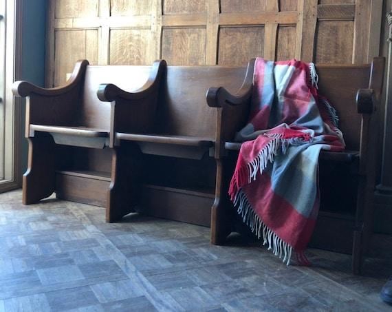 Antique Church Pew Bench With Hidden Storage, Oak Farmhouse Bench, Entryway Bench, Wooden Church Bench, Three Seat Bench