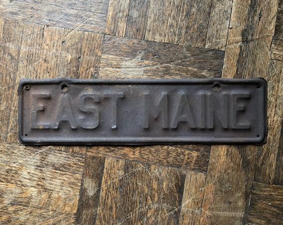 Vintage Street Sign, East Maine Metal Road Sign, Old Metal Sign, Metal Street Sign, Industrial Transportation Decor