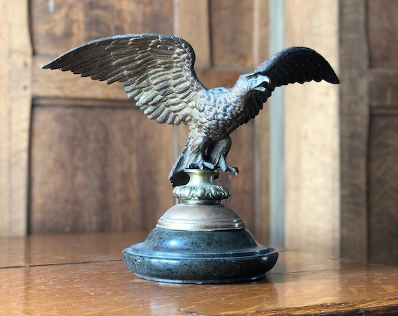 Antique Brass Eagle Statue, Eagle Finial, Brass Eagle Flag Pole Topper, American Eagle Statue, Americana Decor, Industrial Office