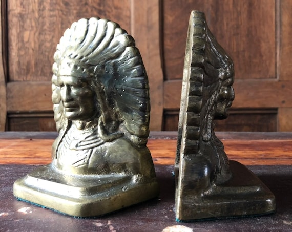 Vintage Brass Bookends, Western Decor, Native American Bookends, Indian Chief, Antique Bookends