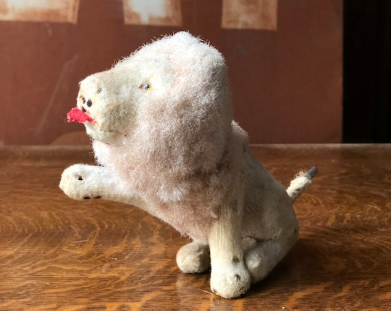 Antique Lion Wind Up Toy, Mohair Lion Toy, Mechanical Lion, Lion Gifts, Lion Decor