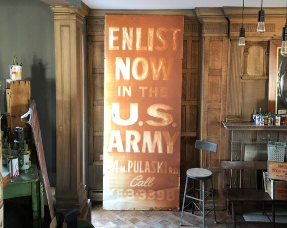 HUGE Enlist Now Army Sign, Authentic Army Building Sign, 10 FT Tall, Join Now Army Sign, We Want You Sign,