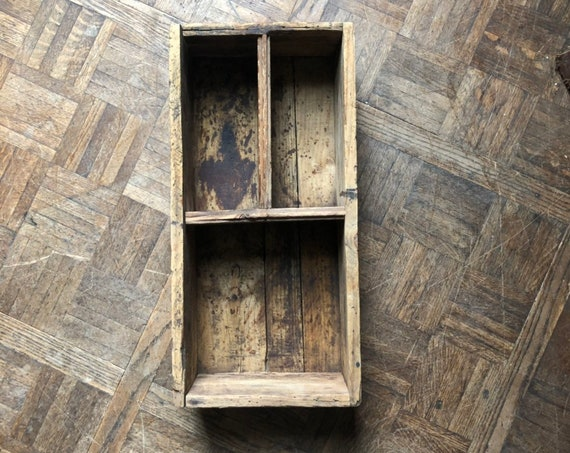 Rustic Wood Crate with 3 Compartments, Vintage Wooden Crate, Wooden Box, Rustic Wood Storage, Desk Organizer