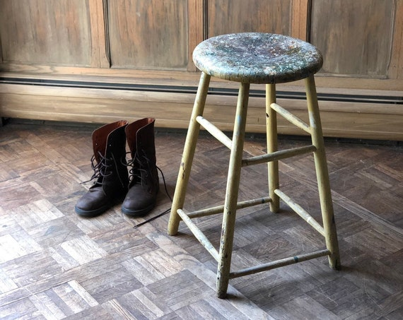 Vintage Wood Stool, Farm Stool, Distressed Stool, Painters Stool, Plant Stand
