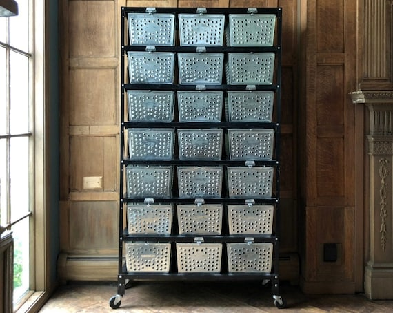 Vintage Locker Basket Shelving Unit, Industrial Shelving, Metal Wire Baskets, Metal Storage Bins