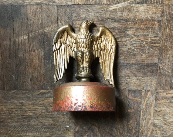 Vintage Eagle Finial Statue, Brass Eagle Flag Pole Finial, American Eagle Statue, Americana Decor, Industrial Office