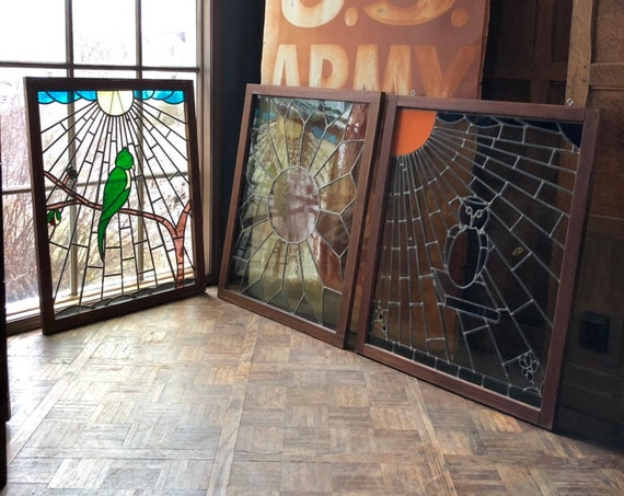 Antique Stained Glass, Odd Fellows Stained Glass, Set of Three Windows, Owl Bird Stained Glass, Geometric Design