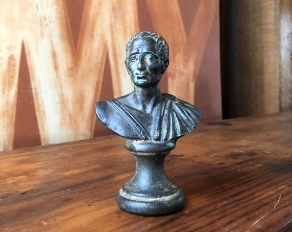 Vintage Julius Caesar Brass Bust, Mini Bust, Miniature Sculpture, Brass Decor, Julius Caesar Bust, Office Desk Decor