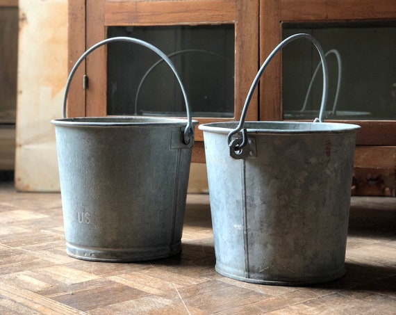 PAIR of Old Galvanized Buckets, Antique Metal Pail, Galvanized Water Bucket with Handle, Old Military Buckets, Galvanized Farmhouse Decor