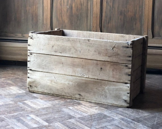 Large Wood Shipping Crate, Rustic Industrial Wood Storage, Decorative Wooden Crate Storage, Vinyl Record Storage