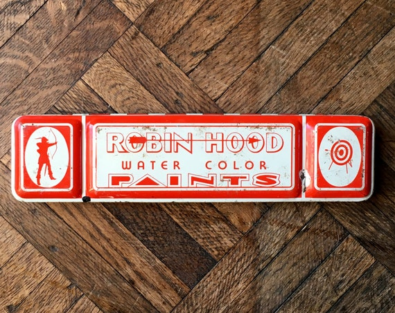 Vintage Paint Tin, Robin Hood Water Color Paints, Art Crayon Co., Inc. Hazleton PA, Americana Decor, Painters Gift