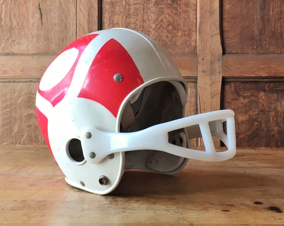 Vintage Youth Football Helmet, Vintage Franklin Football Helmet, Off White And Red Kids Football Helmet