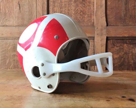 Vintage Football Helmet, Youth Franklin Football Helmet, Off White And Red Kids Football Helmet, Kids Room Decor, Sports Room