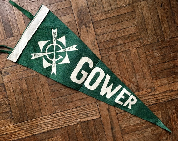 Vintage Gower Pennant, Wool Felt Pennant Flag, Green And White, Sports Wall Decor