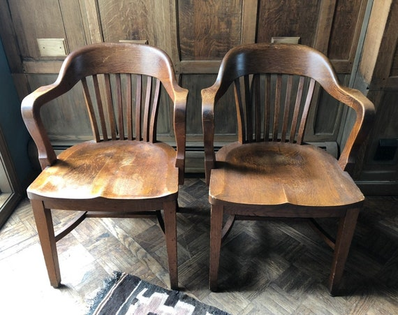 PAIR of Oak Bankers Chairs, Vintage Library Chairs, Antique Oak Desk Chair, Pair of Chairs